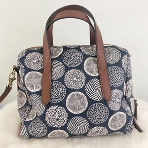 Fossil Blue White Mimi Shopper Bag Shoulder NWOT